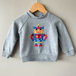 URBAN KIDS Grey robot long sleeve sweater 6-12m